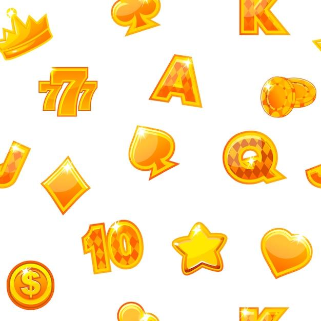 Fundo com ícones de cassino de ouro no padrão de repetição branco, sem costura. Vetor Premium