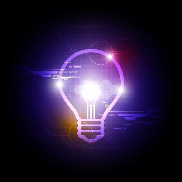 Fundo com lâmpada brilhante Vetor Premium