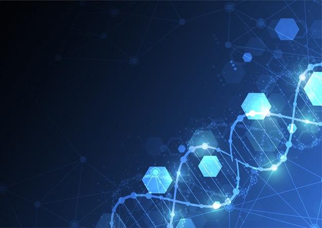 Fundo com moléculas de dna. Vetor Premium