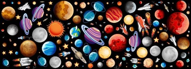 Fundo com muitos planetas no espaço Vetor grátis