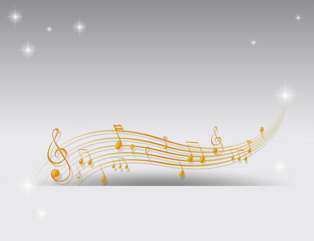 Fundo com notas musicais douradas Vetor grátis
