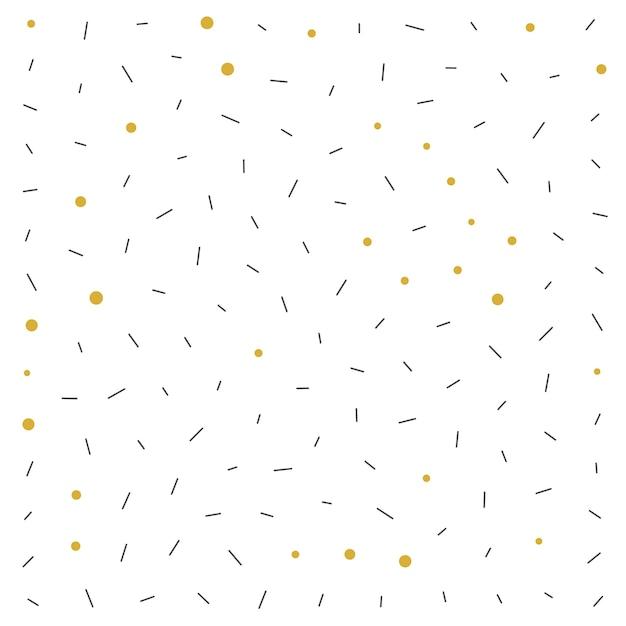 Fundo com padrão de pontos pretos e dourados no estilo memphis Vetor grátis