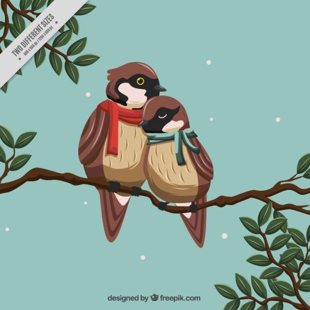 Fundo com pássaros românticos usando lenços Vetor grátis