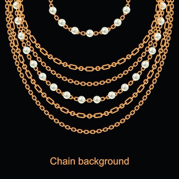 Fundo com pérolas e correntes colar metálico dourado Vetor Premium