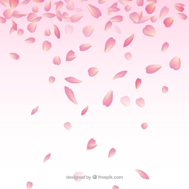 Fundo com pétalas de cerejeira Vetor grátis