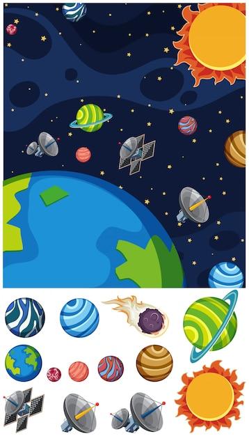 Fundo com planetas e sol no espaço Vetor Premium