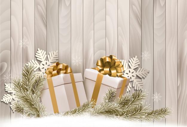 Fundo com presentes e flocos de neve Vetor Premium