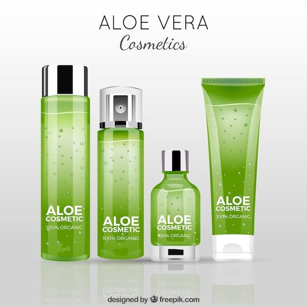 Fundo com produtos verdes de aloe vera Vetor grátis