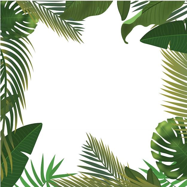 Fundo com ramos de folha de palmeira verde realista sobre fundo branco. vista leiga, superior Vetor Premium