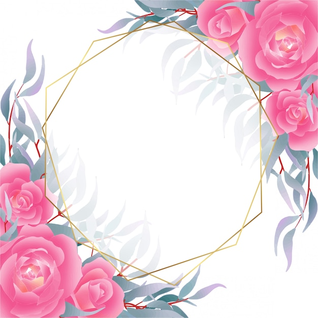 Fundo com rosas e marinha deixa decoração em estilo aquarela Vetor Premium
