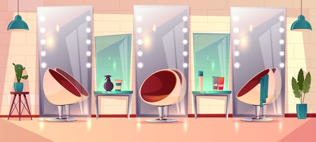 Fundo com salão de cabeleireiro feminino Vetor grátis