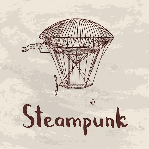 Fundo com steampunk mão desenhada dirigíveis, balões de ar, bicicletas e carros com lugar para ilustração de texto Vetor Premium