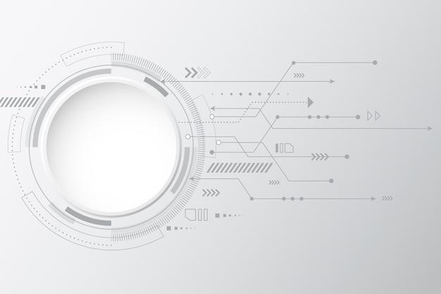 Fundo com tecnologia branca Vetor grátis