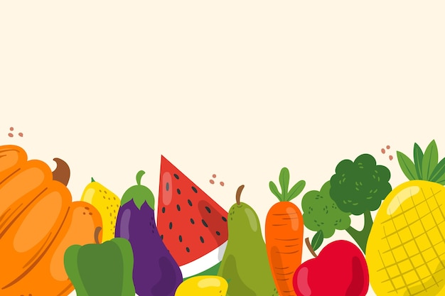 Fundo com tema de frutas e legumes Vetor grátis