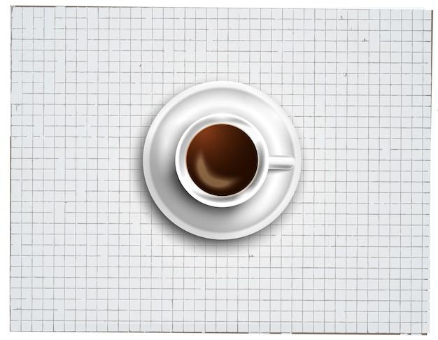 Fundo com um café fresco na mesa com ícones Vetor Premium