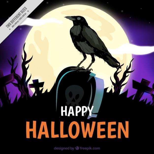 Fundo com um corvo em um túmulo em noite de halloween Vetor grátis