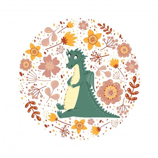 Fundo com um dragão fofo Vetor Premium