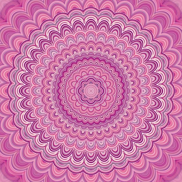 Fundo cor-de-rosa do ornamento do fractal do mandala - projeto gráfico redondo simétrico redondo do vetor de elipses concêntricos Vetor grátis
