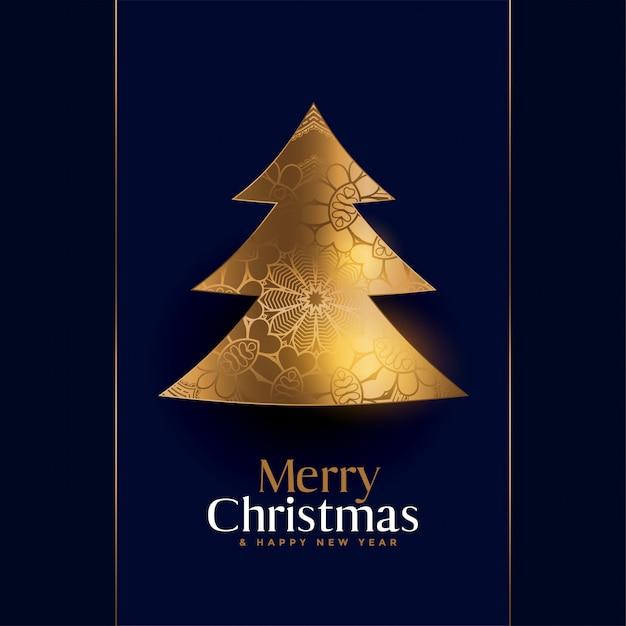 Fundo criativo de árvore de natal dourada premium Vetor grátis