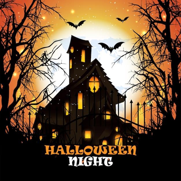 Fundo criativo de halloween com ilustração de horror de abóbora e morcego e casa de horror. Vetor Premium
