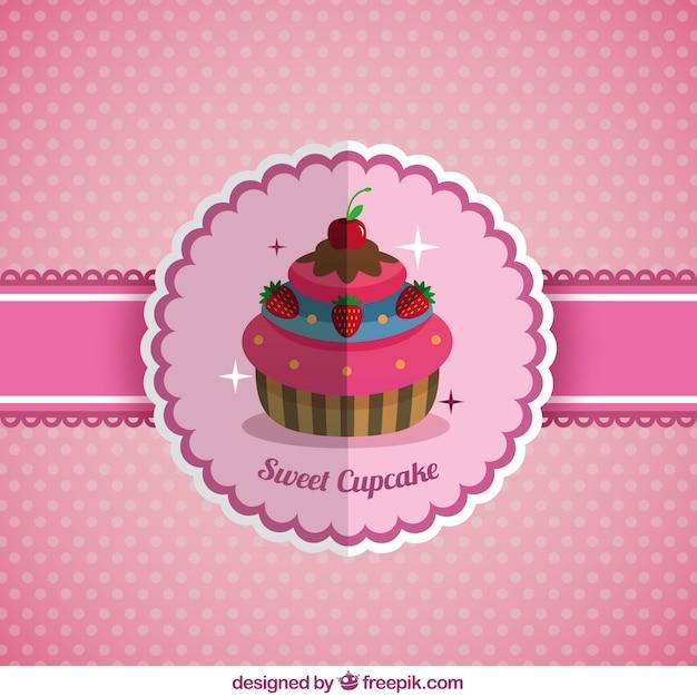 Fundo cupcake delicioso no design plano Vetor grátis