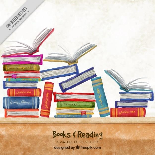 Fundo da aguarela com livros coloridos Vetor grátis
