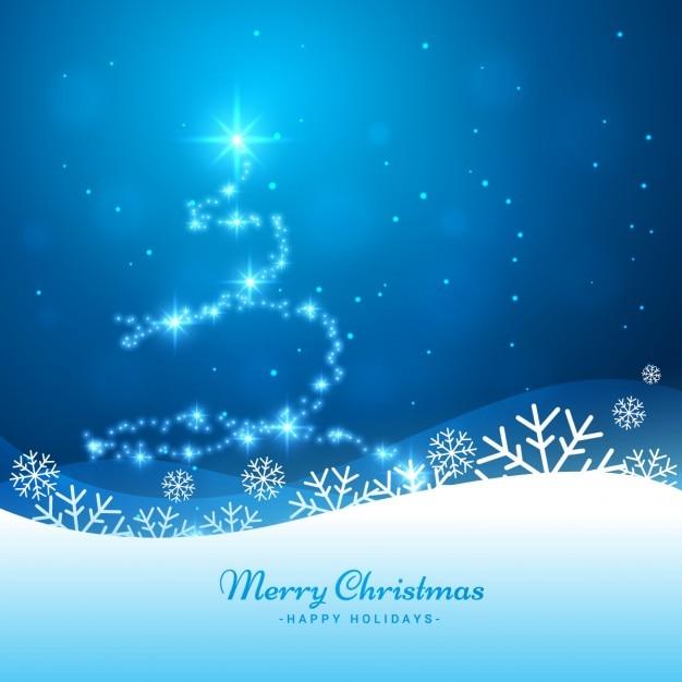 Fundo da árvore de Natal brilhante na cor azul Vetor grátis