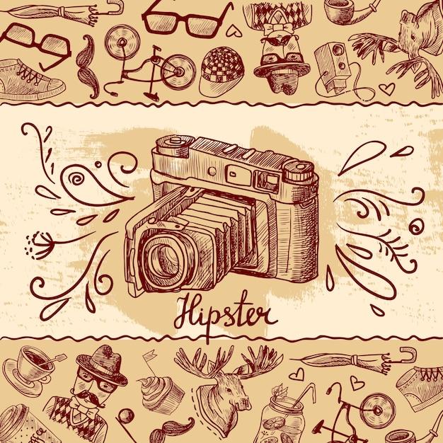 Fundo da câmera hipster Vetor grátis