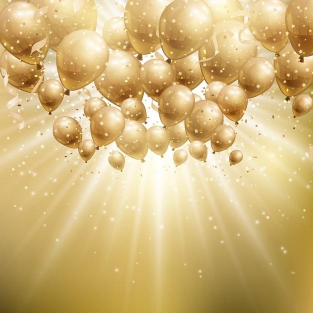 Fundo da celebração com balões dourados Vetor grátis