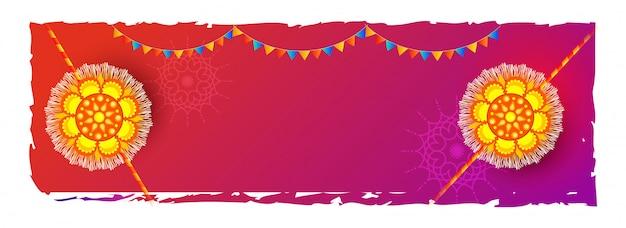 Fundo da celebração de raksha bandhan decorado com o rakhi bonito (punhos). Vetor Premium
