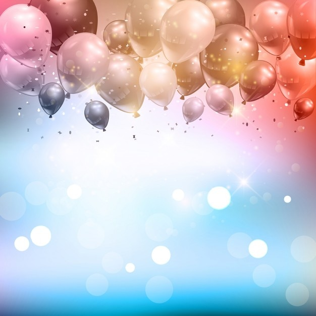 Fundo da celebração dos balões e confetti Vetor grátis
