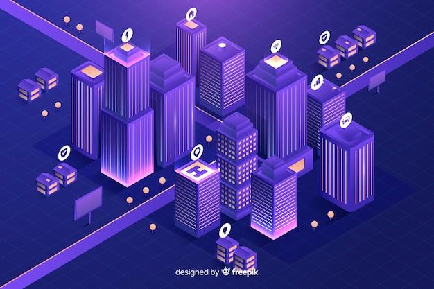 Fundo da cidade futurista isométrica Vetor grátis