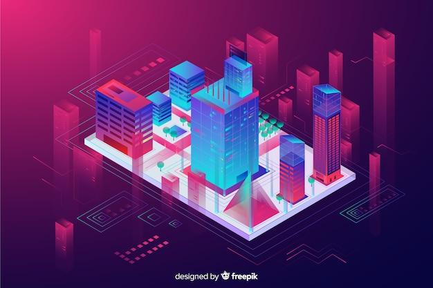 Fundo da cidade inteligente isométrica Vetor grátis