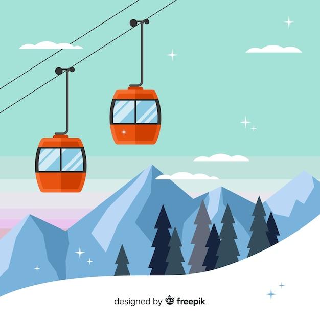 Fundo da estação de esqui Vetor grátis