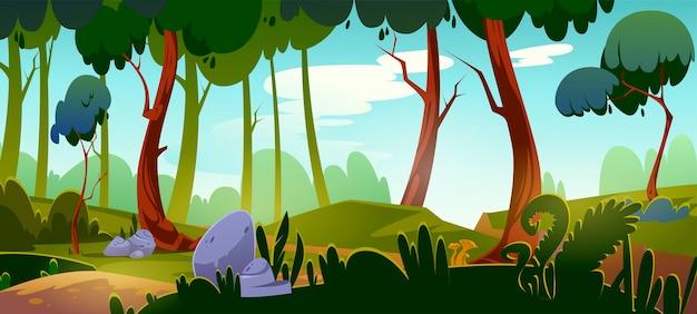 Fundo da floresta dos desenhos animados, paisagem da natureza com árvores decíduas, rochas, grama verde e arbustos no chão. vista de belas paisagens, bosque de verão ou primavera ou área de parque com plantas, ilustração vetorial Vetor grátis