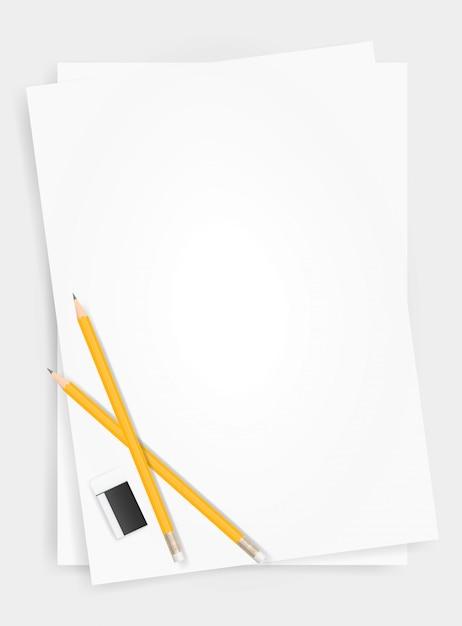 Fundo da folha do livro branco com lápis e eliminador. Vetor Premium