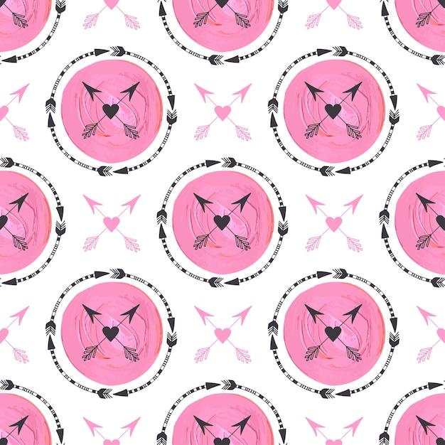 Fundo da forma com setas e ornamento dos círculos cor-de-rosa. design de impressão geométrica. textura de pintura de padrão vetorial sem costura tribal Vetor Premium