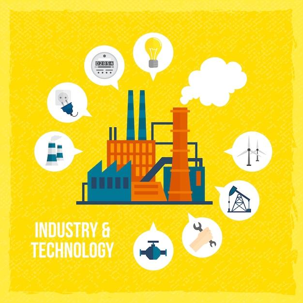 Fundo da indústria e da tecnologia Vetor grátis