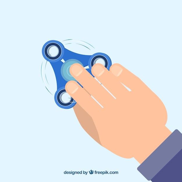 Fundo da mão com girador azul Vetor grátis