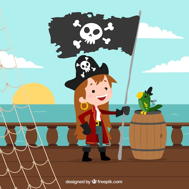 Fundo da menina com bandeira de pirata Vetor grátis