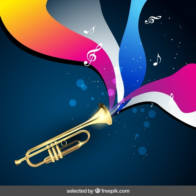 Fundo da música com trombeta Vetor grátis