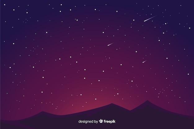 Fundo da noite estrelada gradiente e montanhas Vetor grátis