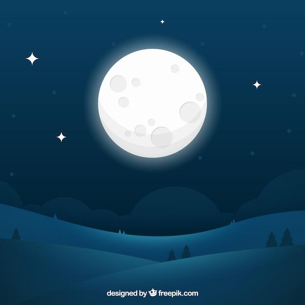 Fundo da noite paisagem com grande lua Vetor Premium