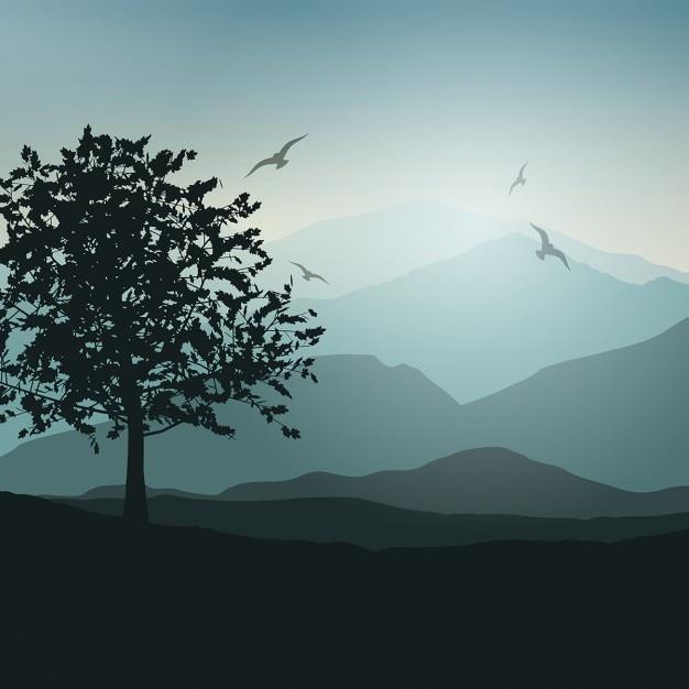 Fundo da paisagem com árvores e pássaros Vetor grátis
