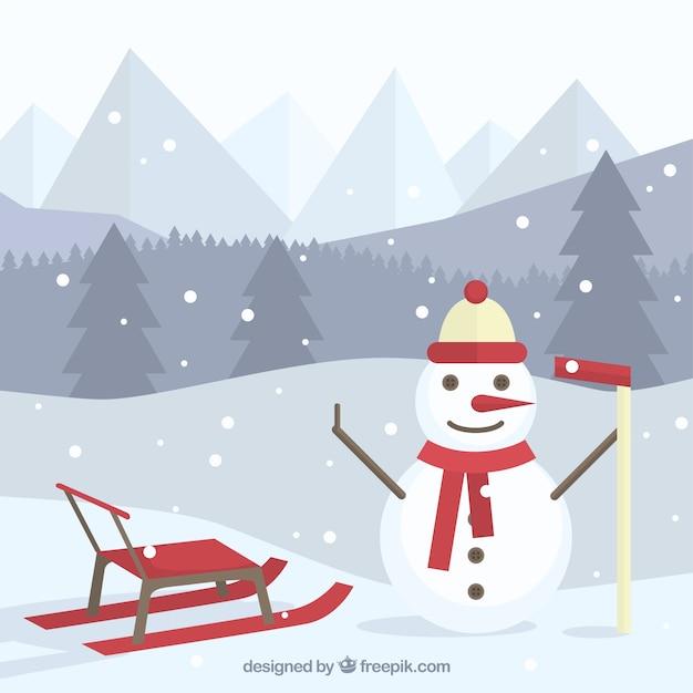 Fundo da paisagem com boneco de neve feliz e trenó Vetor grátis