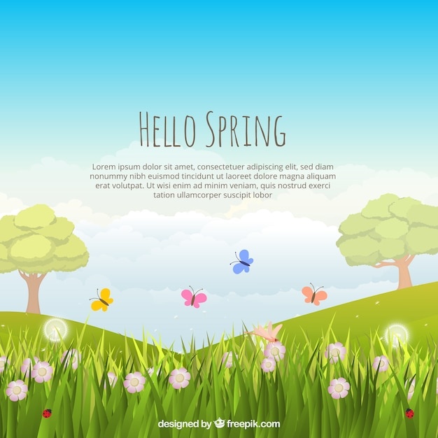 Fundo da paisagem da primavera Vetor grátis
