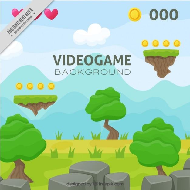 Fundo da paisagem do jogo de vídeo plataforma Vetor grátis