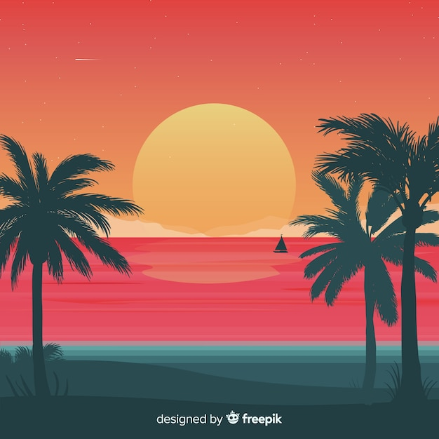 Fundo da paisagem do sol de praia gradiente Vetor grátis