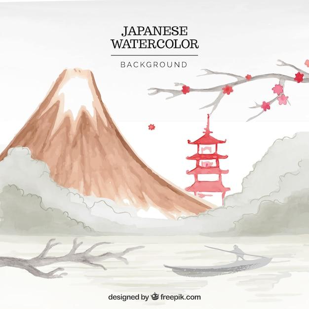 Fundo da paisagem montanhosa japonês com templo aguarela Vetor grátis