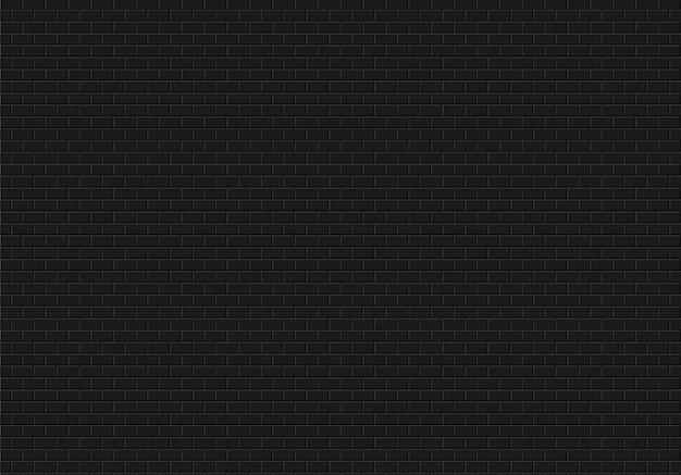 Fundo da parede de tijolo preto. tijolos textura sem costura padrão vector. Vetor Premium